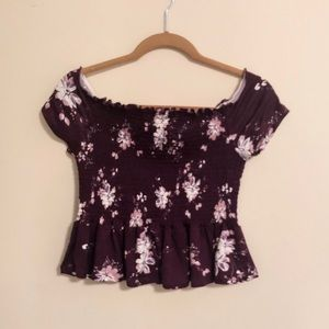 Purple cropped floral top